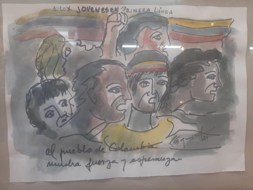 Dibujo en homenaje a las primeras líneas y juventudes que resisten en Colombia